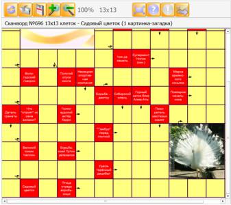 Сканворд №696 13х13 клеток - Садовый цветок (1 картинка-загадка)